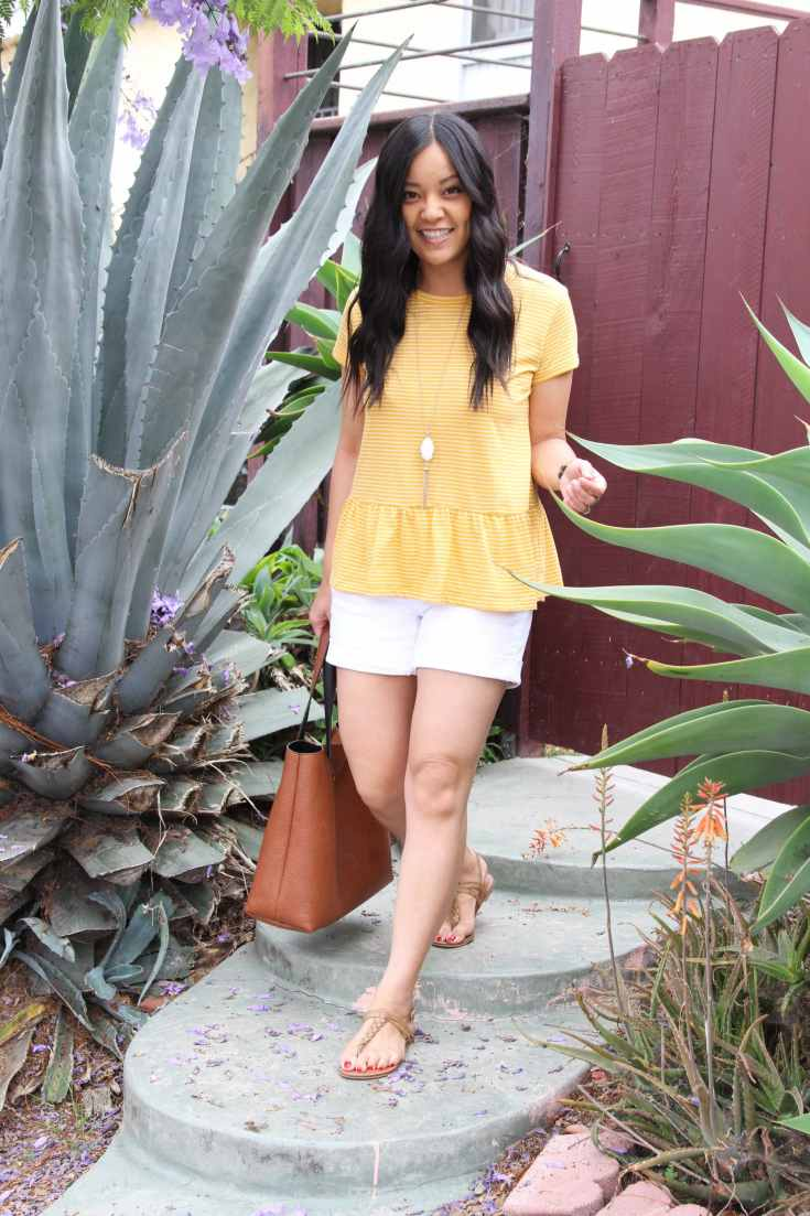 Yellow Peplum Top + Sandals + White Shorts + Cognac Bag