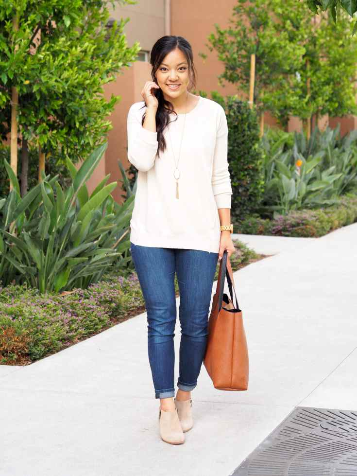 cream sweater + taupe booties