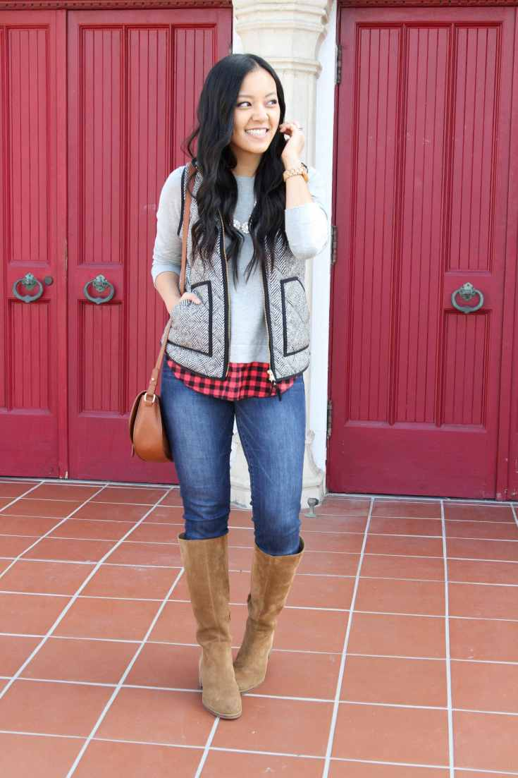 Grey Vest + Buffalo Check Sweater + Skinnies + Riding Boots + Statement Necklace