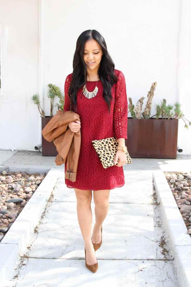 Lace swing dress + Statement Necklace + Leopard Clutch + Brown pumps + Cognac Bag