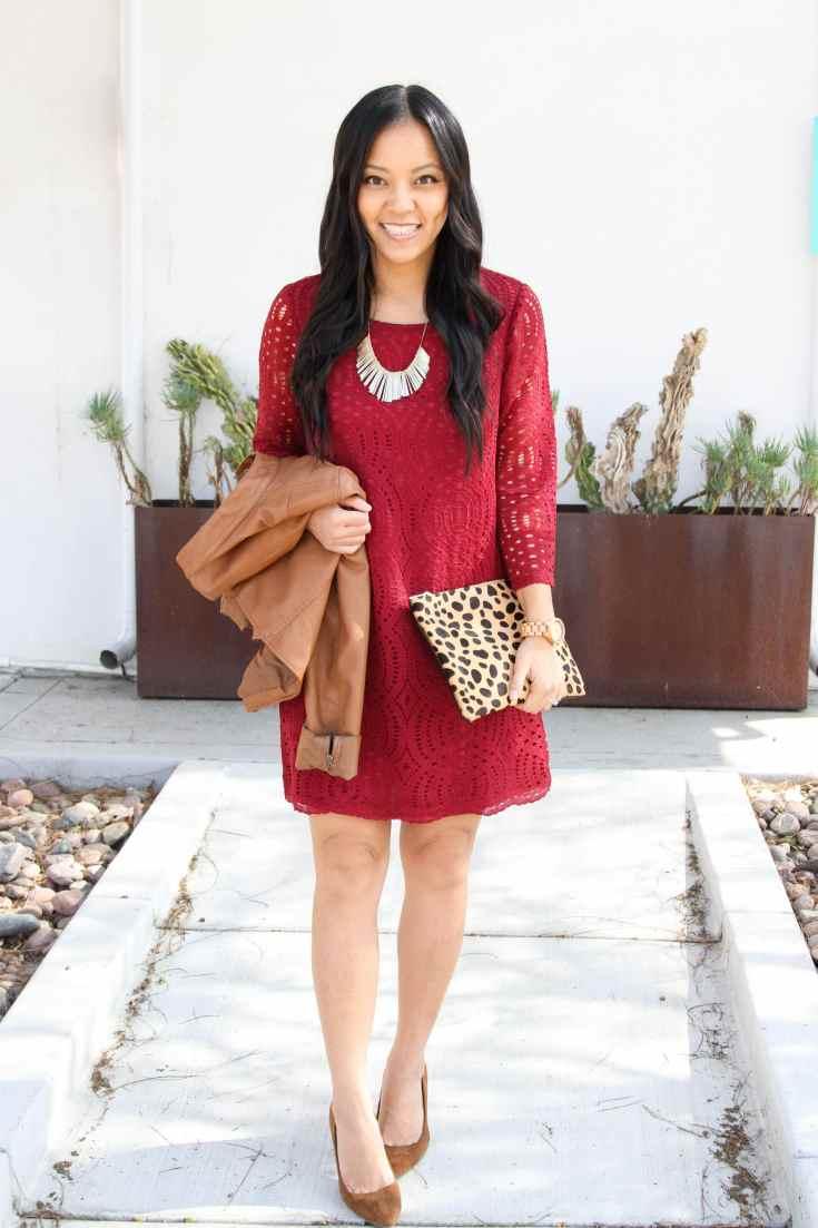 Lace dress + Leopard Bag + Brown Pumps + Statement Necklace