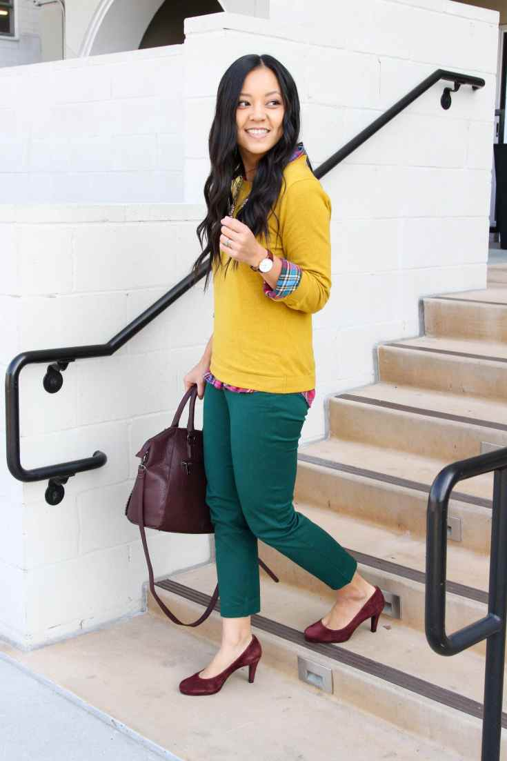 Yellow Sweater + Plaid button up + maroon bag + maroon pumps + green pants