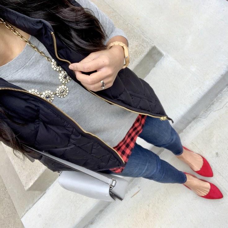 Black Vest + Gray Sweater + Red Flats