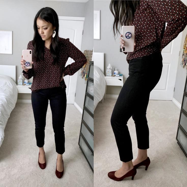 Black Ankle Pants + Maroon Pumps + Maroon Shirt