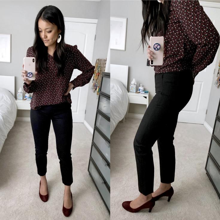 Maroon Heels + Black Ankle Pants + Maroon Floral Shirt