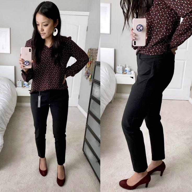 Black trousers + Maroon Heels + Maroon Floral Blouse