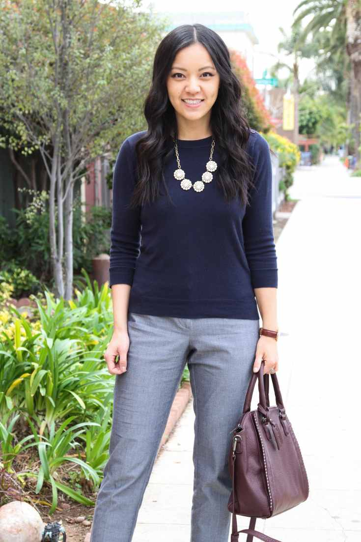 Business Casual: Navy Sweater + Grey slacks + Maroon tote + statement necklace