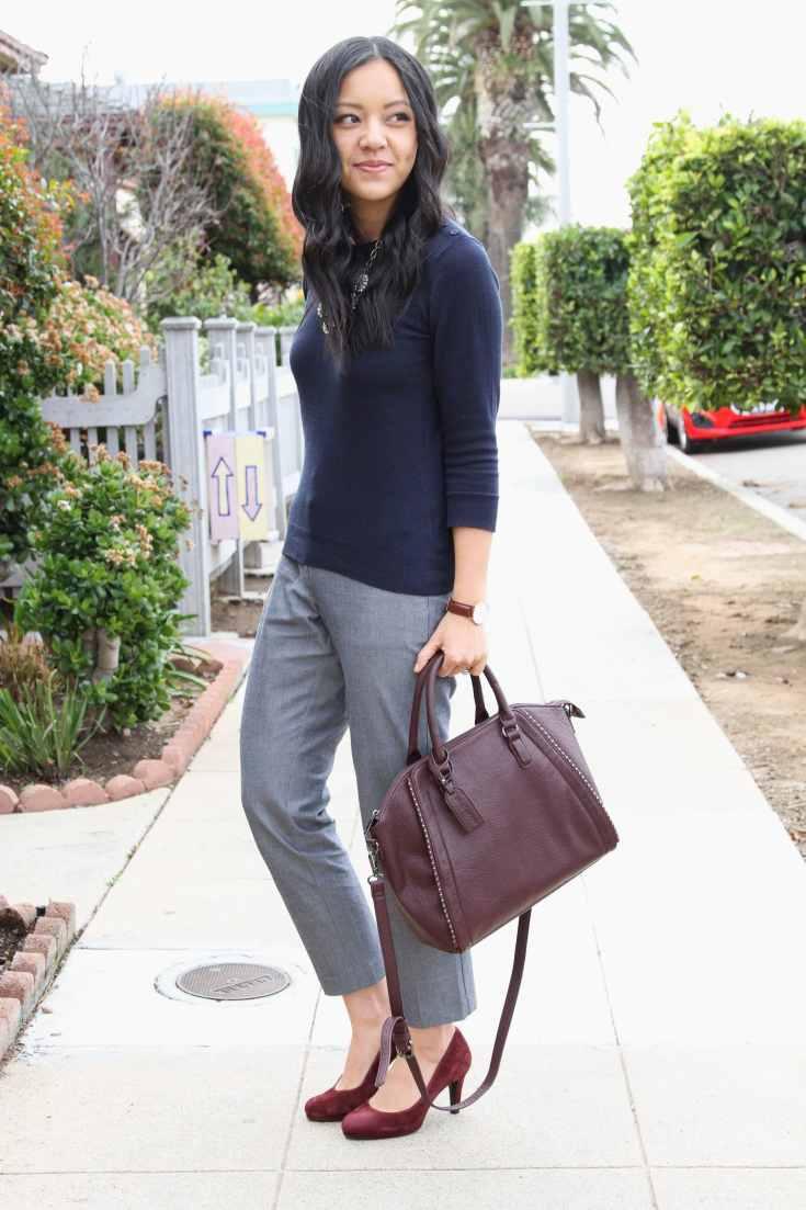 Maroon pumps + Navy Sweater + Grey Pants + Maroon Bag