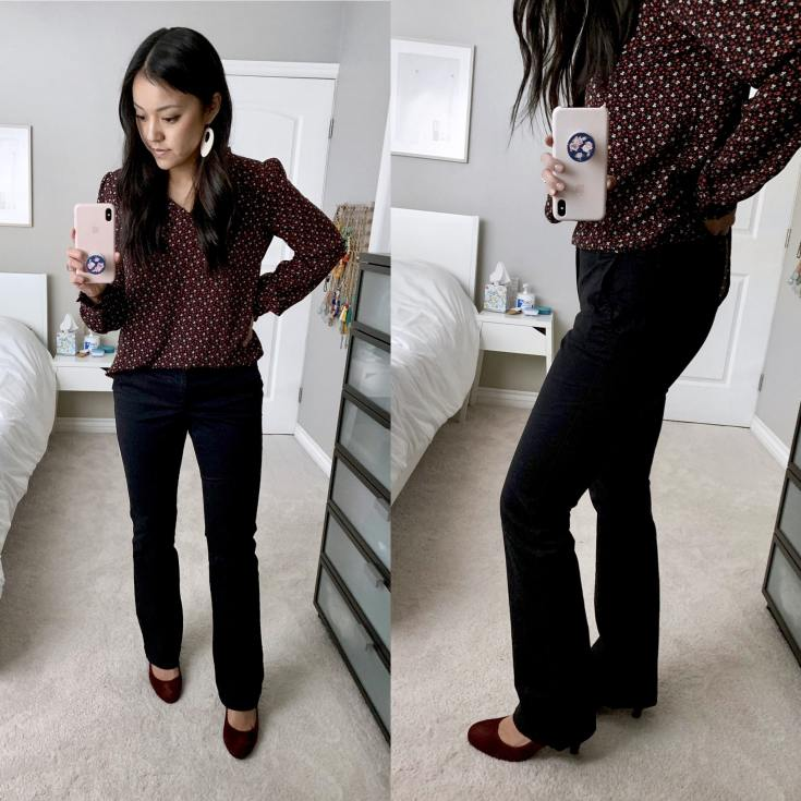 Maroon Patterned Shirt + Maroon Heels + Black Bootcut Pants