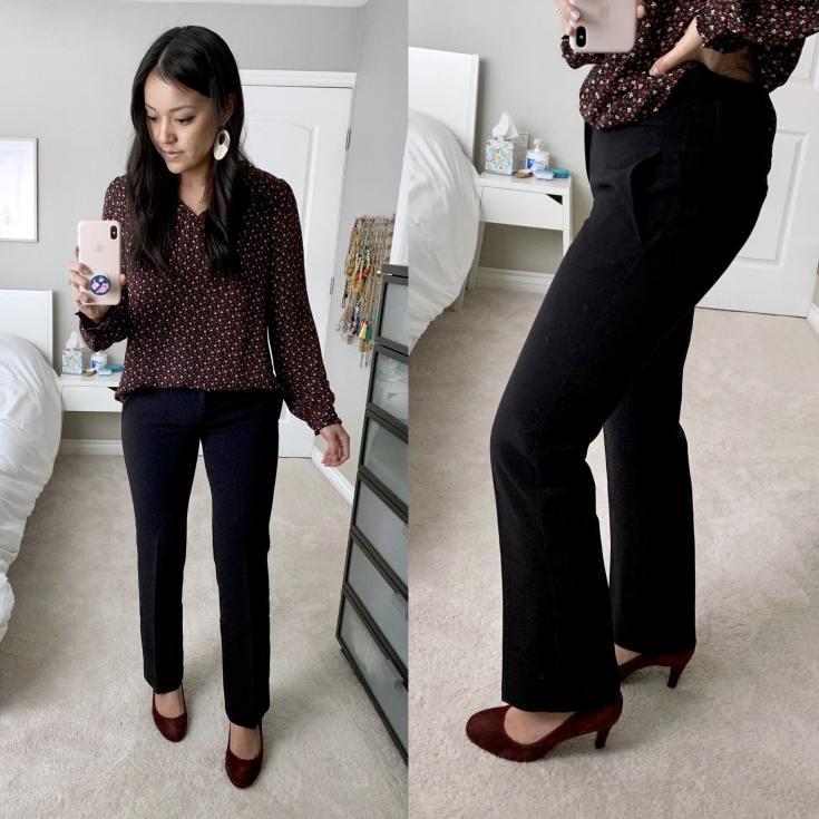 Black Bootcut Pants + Maroon Heels + Dark Floral Shirt