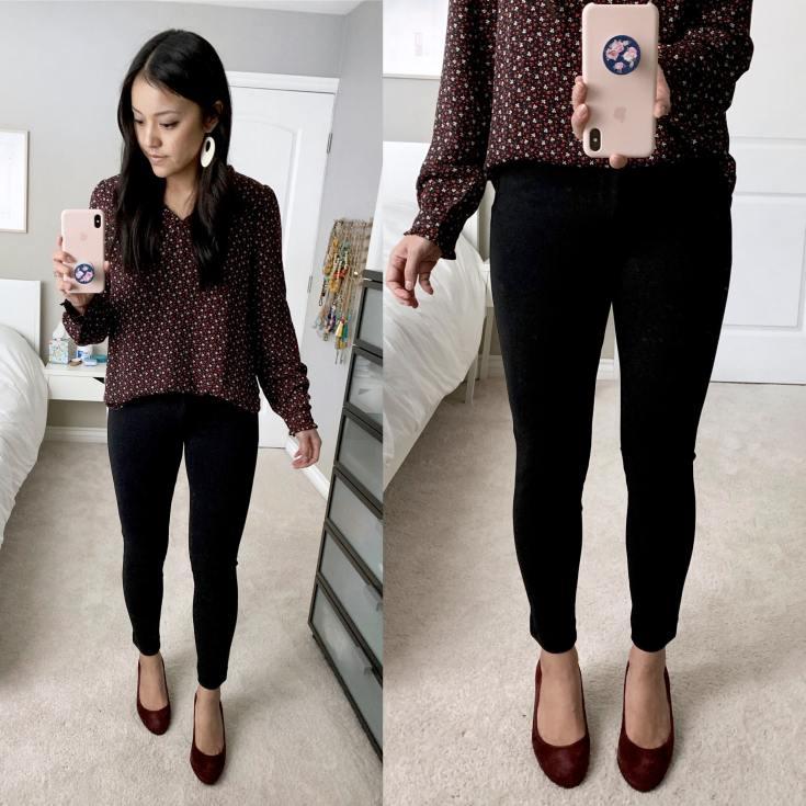 Maroon Heels + Maroon Floral Shirt + Black Pants
