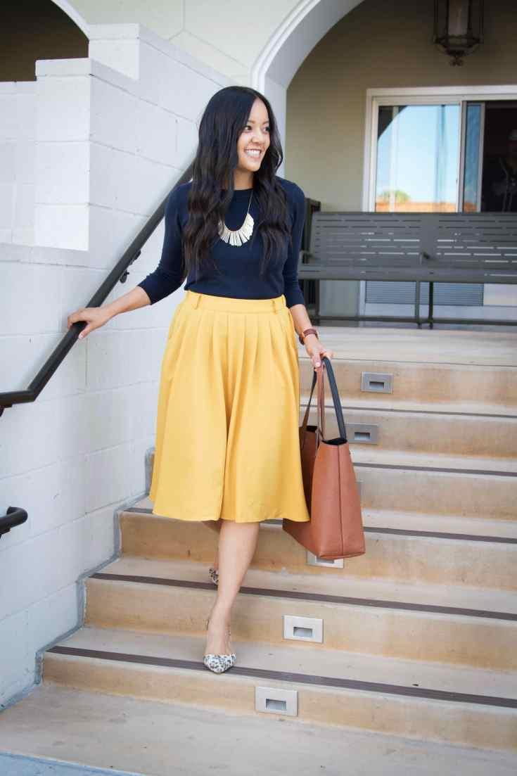 Yellow skirt + Navy weater + Tote + Leopard heels