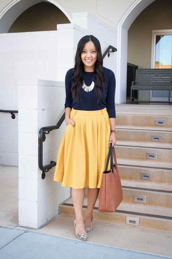 Yellow midi skirt + leopard heels + navy sweater + tote