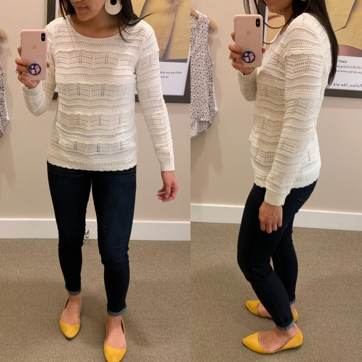 White Pointelle Sweater With Ruffles