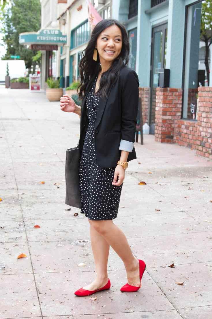 red flats + black polka dot dress + black blazer