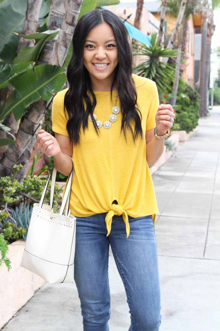 Yellow Top + Statement Necklace + light jeans