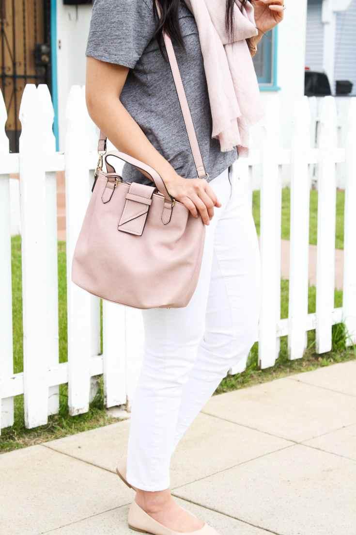 Blush bag + White Jeans + Grey tee