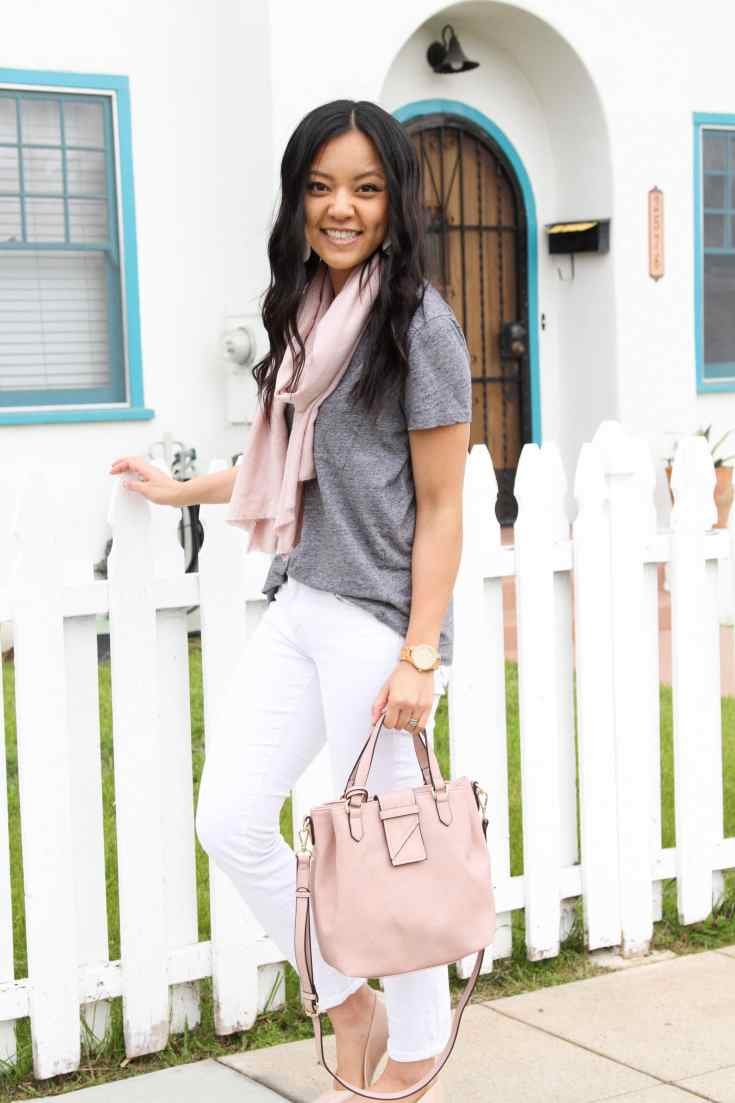 Grey tee + pink scarf + white skinnies + pink bag