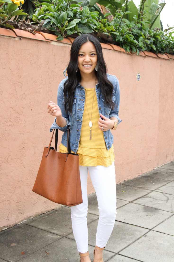 Yellow Peplum Top + Denim Jacket + Cognac Tote + White Jeans