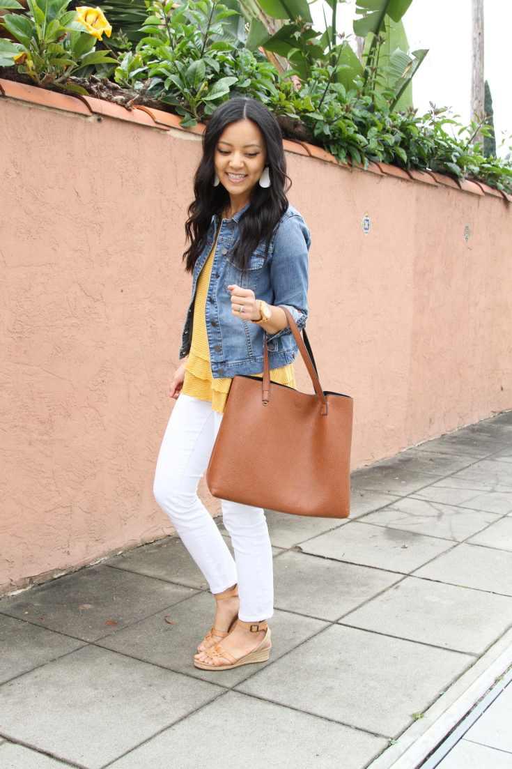 Denim jacket + Yellow top + Cognac tote + wedges + white skinnies