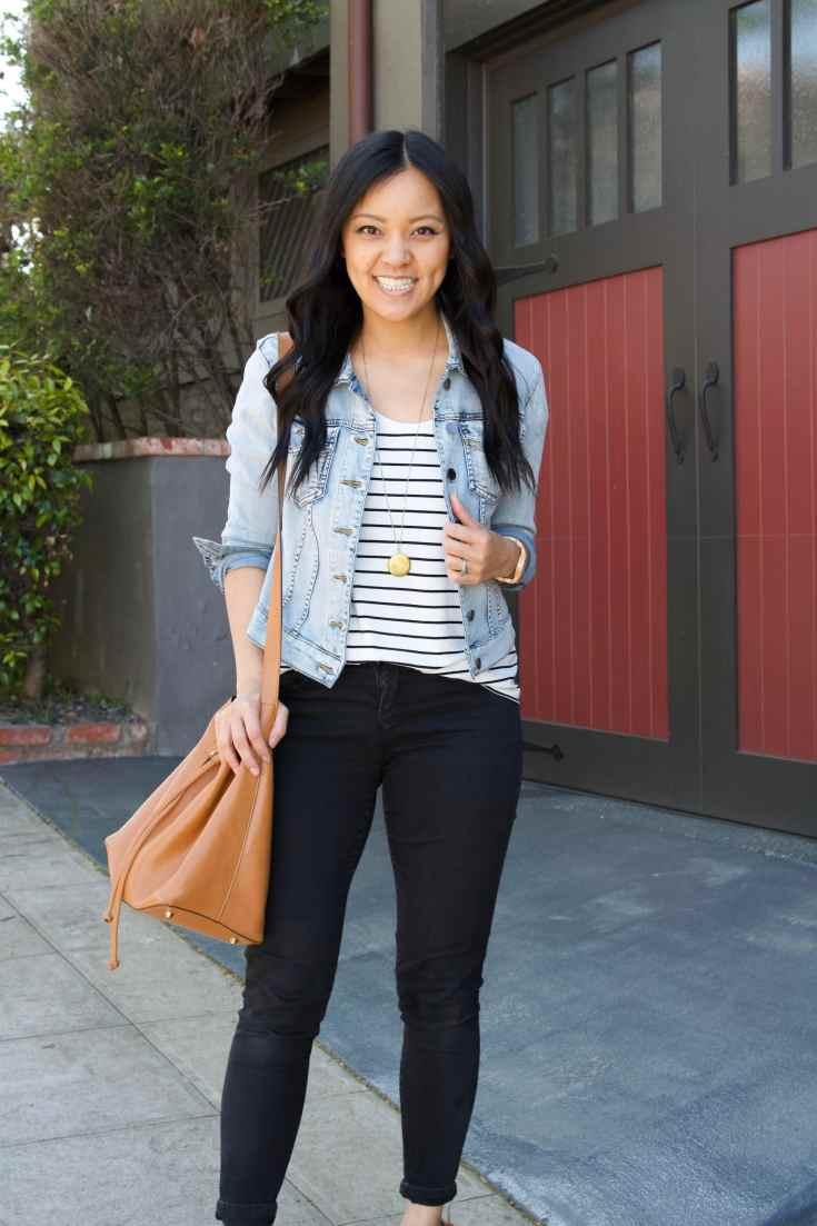 striped tee + denim jacket + black jeans + brown tote