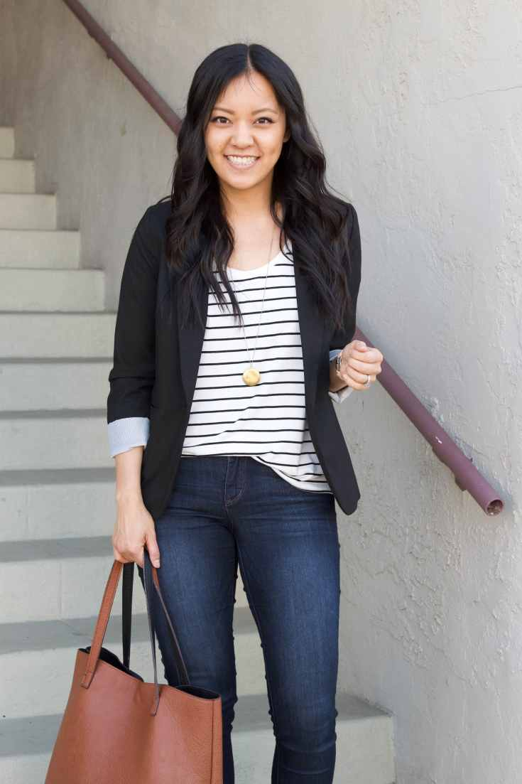black twill blazer + pendant necklace + striped tee + skinny jeans