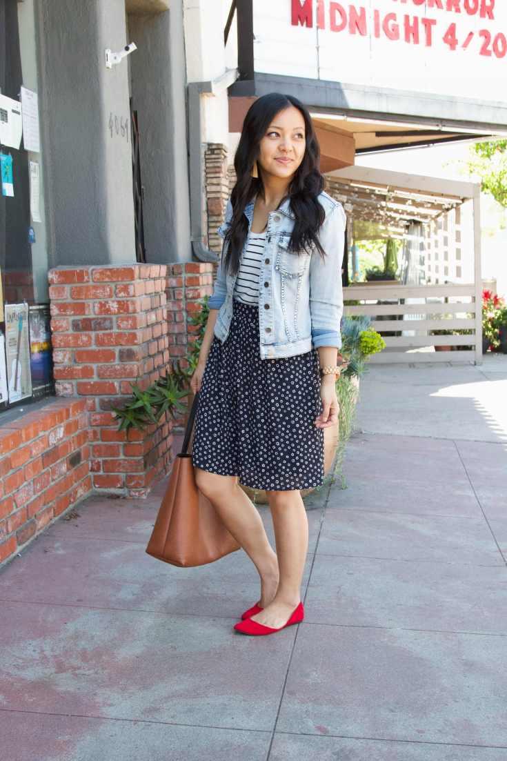 red flats + denim jacket + printed skirt + striped tee