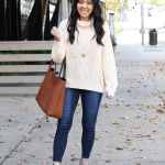 Tan Sweater Skinny Jeans Taupe Booties Tote Bag Outfit Front 1 Putting Me Together