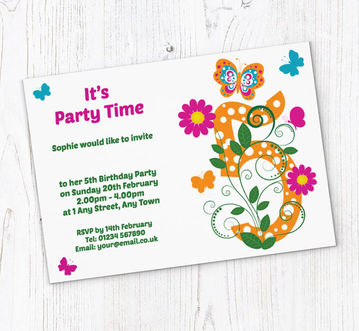 butterfly 5th birthday party invitations