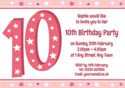 10th birthday party invitations