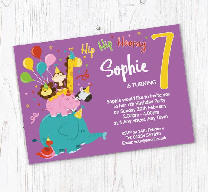 7th animal birthday party invitations
