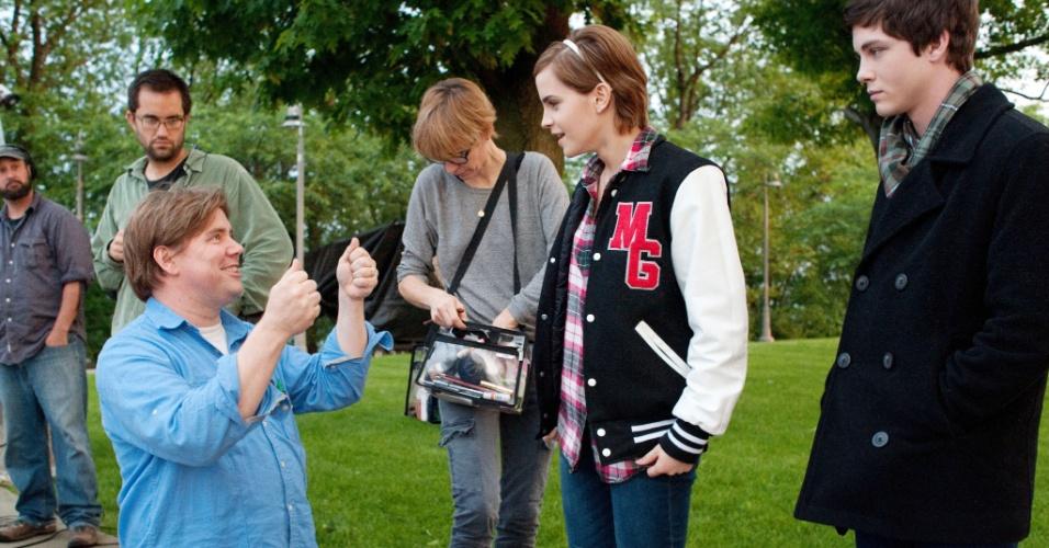 Chbosky, Watson e Lerman durante as gravações