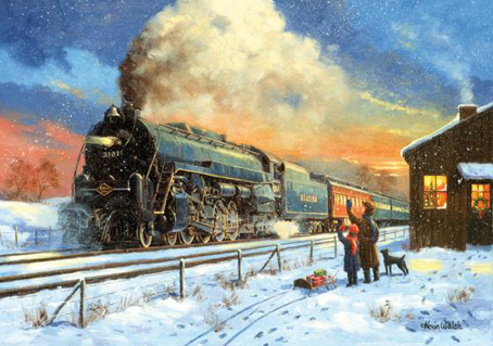 Wooden Jigsaw Puzzle Home For Christmas Train 1000