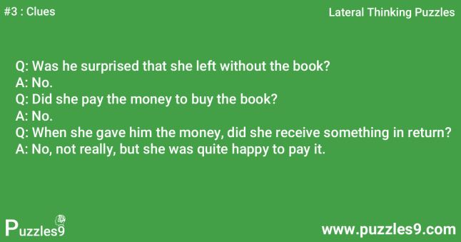 #3 Clues - Woman in Library lateral thinking questions