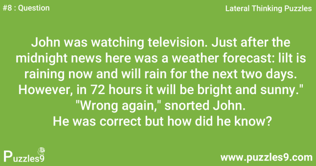 #8 Question - John knows everything about weather : Lateral thinking riddles