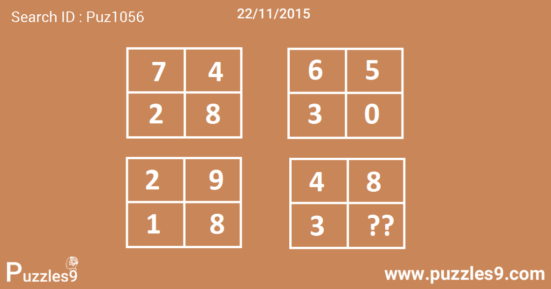 Find the missing number in last rectangle - daily puzzle of puzzles9 : 22/11/2015 | puz1056