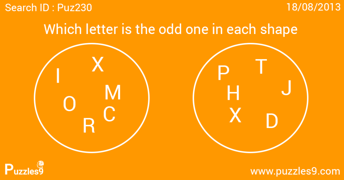 which letter is the odd one out in each circle  - puz230 - daily puzzle with answer