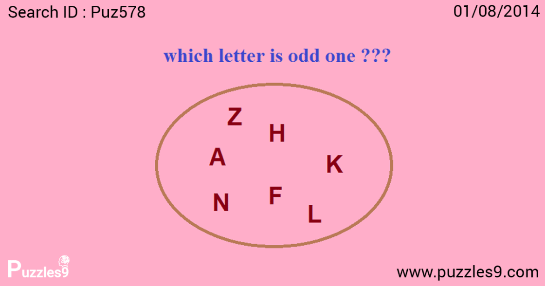 find the odd letter out from the set of letters in the maths logic puzzle | puz578
