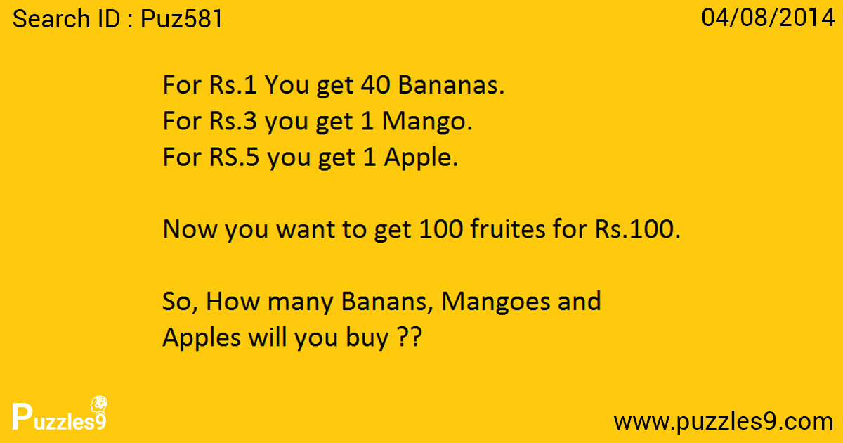 How you decide fruites to buy in this tricky Maths Logic ...