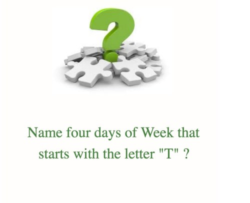 Name week days which starts with letter T Puzzle