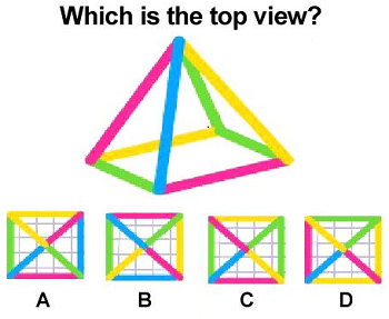 Which is top view of this pyramid?