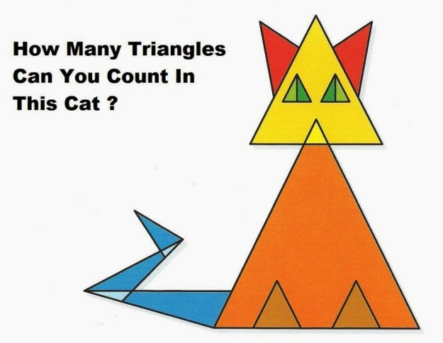 How Many triangles can you count in this cat puzzle with answer