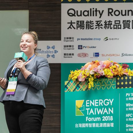 Karin Krauß, R&D project manager at Rehm Thermal Systems presenting at pv magazine Quality Roundtable at Energy Taiwan 2018