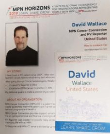 David Wallace Bio for MPN Horizons, PV Reporter,, MPN Cancer Connection