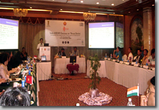 Jojo in the platform is making country presentation to ASEAN delegates.
