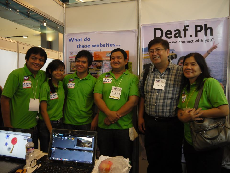 (From left:) PWAG President Jojo Esposa, Deaf ICT Skills Demonstrators Janine Zurita and Moises Libot, MCCID Deaf Coordinator Ervin Reyes, Sir Leo and NCDA's Nelia De Jesus