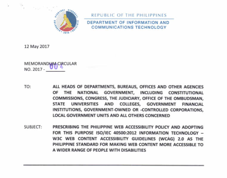 Snapshot of the First Page of DICT Memo Circular No. 4