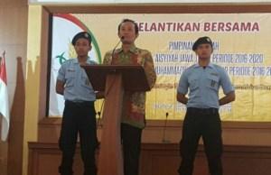 Wakil Ketua PWM Jatim Nadjib Hamid memberikan tausiyah Pelantikan PW IPM dan PW NA Jatim. (Foto: aan/pwmu.co)