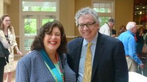 Program moderator Susan Issacs with author Kevn Baker