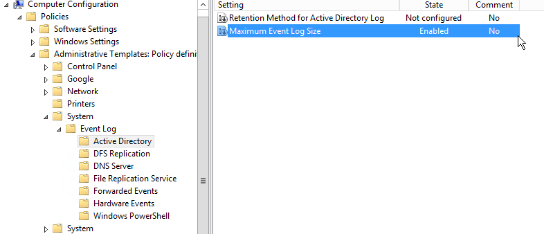 """2 ways to customise Event Viewer """"Log Size"""" through Group ..."""